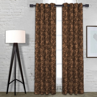 Michelle Espresso-colored Cotton-blended Curtain Panel Pair