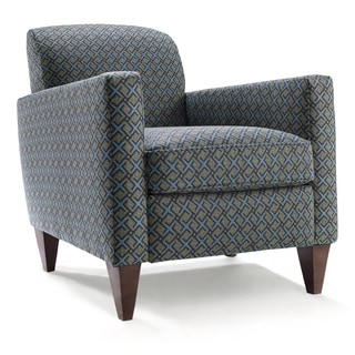 Rolly Blue and Yellow Patterned Polyester Armchair