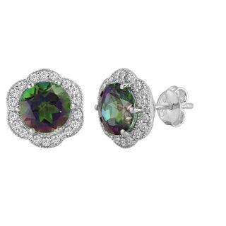 AALILLA Sterling Silver Round Mystic Topaz and White Topaz Stud Earrings