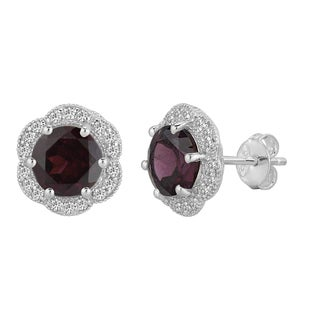 AALILLY Sterling Silver Round Rhodolite Garnet and White Topaz Stud Earrings