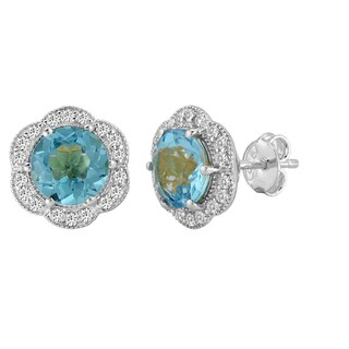 AALILLY Sterling Silver Round Swiss Blue Topaz and White Topaz Stud Earrings
