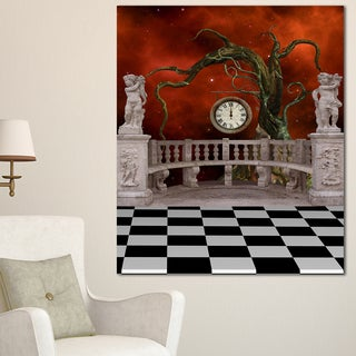 Balcony with Clock and Tree Angels - Art Canvas Art Print