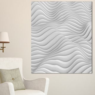 Fractal Rippled White 3D Waves - Abstract  Art Canvas Print