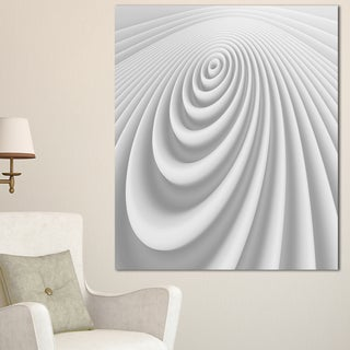 Fractal Rounded White 3D Waves - Abstract  Art Canvas Print