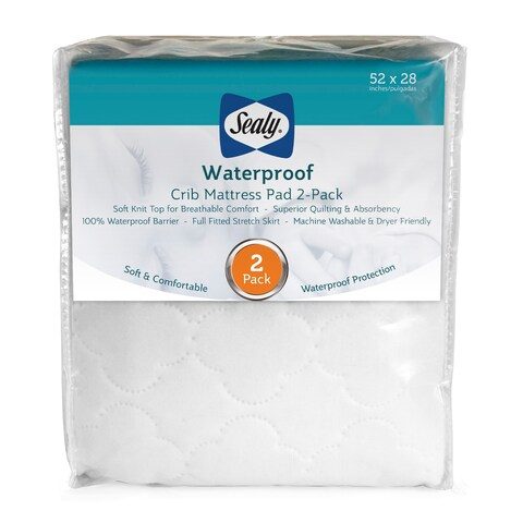 Sealy Waterproof Fitted Crib Toddler Mattress Pad Cover (Pack of 2) - White