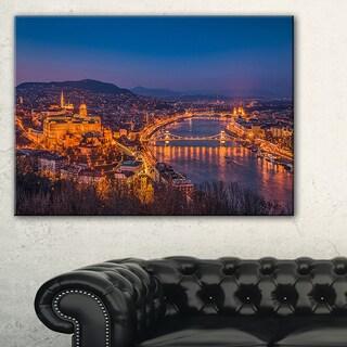 Night View of Budapest City - Extra Large Seashore Canvas Art