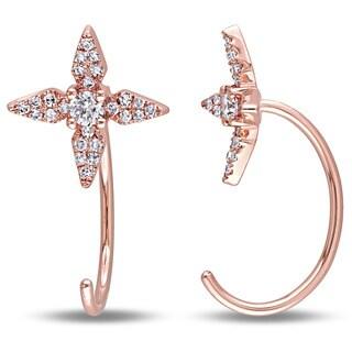 Miadora 14k Rose Gold 1/4ct TDW Diamond Quatrefoil Earrings (G-H, SI1-SI2)