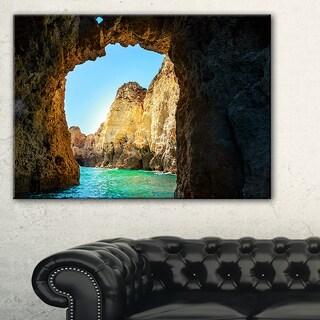 Sea through Rocky Cave Portugal - Extra Large Seashore Canvas Art