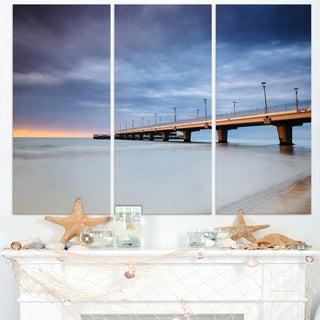 Long Concrete Pier into Sea - Sea Bridge Canvas Wall Artwork