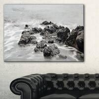 Black and White Rocky Coastline - Extra Large Seashore Canvas Art