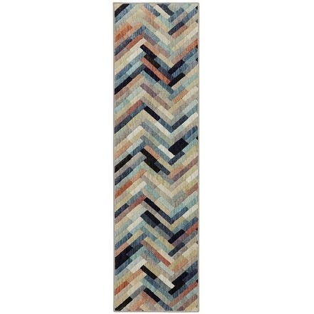 "Mohawk Home Cascade Heights Caftan Stripe Multi Area Rug (2'1 x 7'10) - Blue/Green/Coral - 2'1"" x 7'10"""