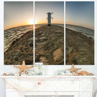 Lighthouse Windmill Stawa Mlyny - Seashore Canvas Wall Artwork