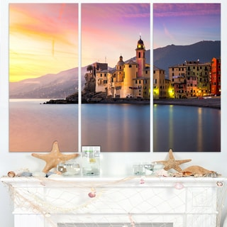 Old Mediterranean Town at Sunrise - Large Seashore Canvas Print