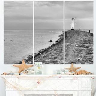 Lighthouse Windmill Stawa Mlyny in Grey - Seashore Canvas Wall Artwork