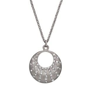 Isla Simone - Silver Tone Crystal Crescent Necklace