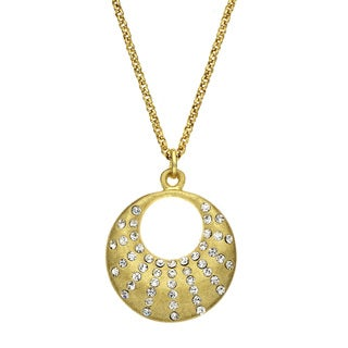 Isla Simone - Gold Tone Crystal Crescent Necklace