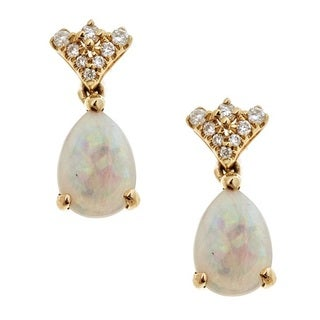 Anika and August 14k Yellow Gold Australian Opal and Diamond Accent Earrings