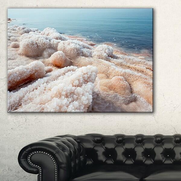 Crystallized Salt on Dead Sea Beach - Extra Large Seashore Canvas Art