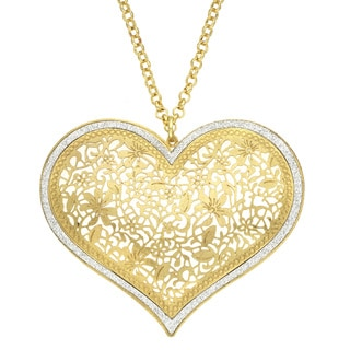 Isla Simone - Gold Tone Flower Heart Necklace