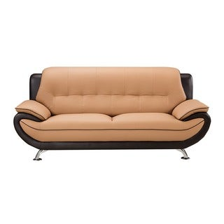 American Eagle Brown and Dark Brown Bonded Leather Sofa