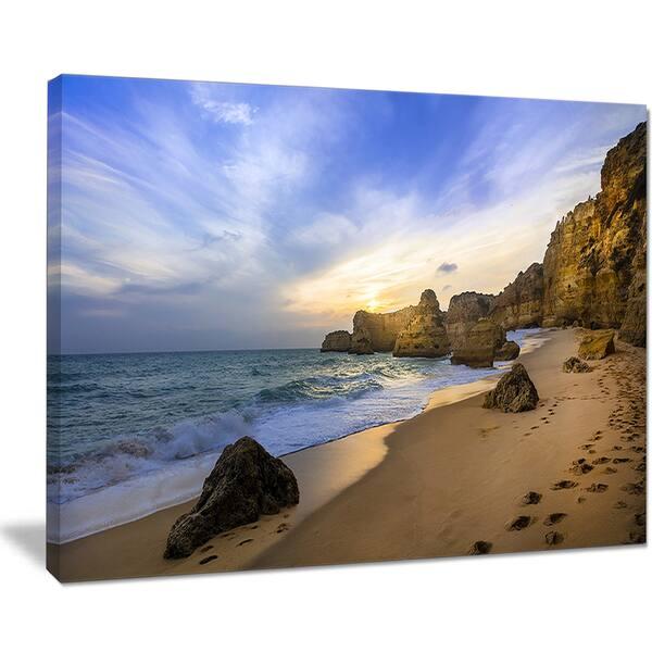 Beautiful Sunset Over Algarve Portugal Extra Large Seashore Canvas Art Overstock 12211958