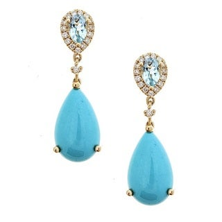 Anika and August 14k Yellow Gold Aquamarine, Turquoise and 1/3ct TDW Diamond Earrings (G-H, I1-I2)