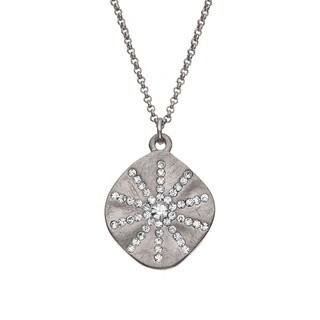 Isla Simone - Silver Tone Crystal Sun Burst Necklace