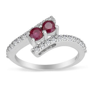 AALILLY Sterling Silver Round Ruby and White Topaz Rings