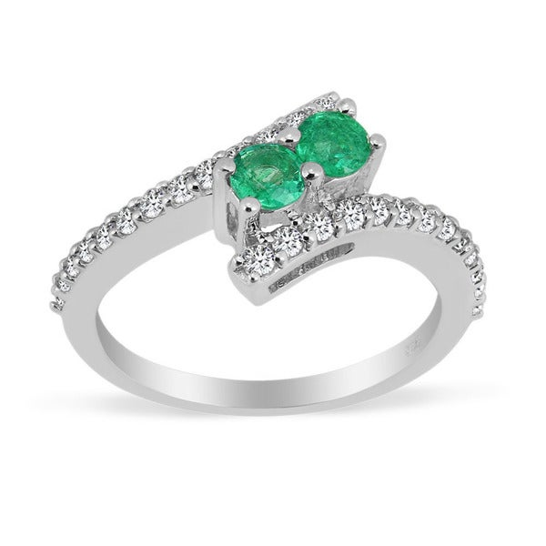 Sterling Silver Round Emerald and White Topaz Rings