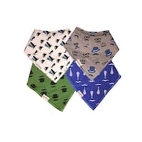 Unik Boy's Organic Cotton Bandana Drool Baby Bibs (Set of 4)