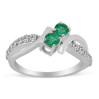 AALILLY Sterling Silver Round Emerald and White Topaz Rings