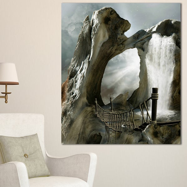 Large Trunk with Waterfall - Landscape Art Canvas Print - Brown