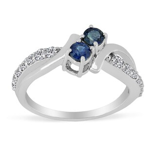 Sterling Silver Round Blue Sapphire and White Topaz Rings