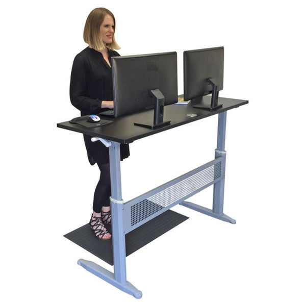 Transcendesk 55inch Black Silver Crank Operated Sit Standing