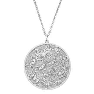 Isla Simone - Silver Tone Crystalized Bi-Level Butterfly Necklace