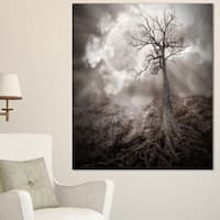 Lonely Tree Holding the Moon - Landscape  Art Canvas Print - Black
