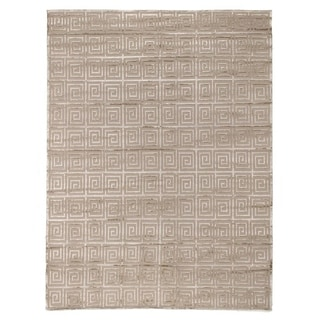 Exquisite Rugs Greek Key Beige New Zealand Wool and Viscose from Bamboo Silk Rug (6' x 9')