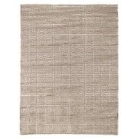Exquisite Rugs Greek Key Beige New Zealand Wool and Bamboo Silk Rug (10' x 14') - 10' x 14'