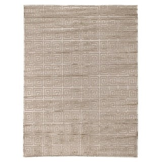 Exquisite Rugs Greek Key Beige New Zealand Wool and Bamboo Silk Rug (10' x 14')