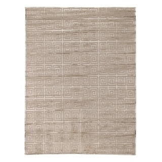 Exquisite Rugs Greek Key Beige New Zealand Wool/Viscose from Bamboo Silk Rug (9' x 12')