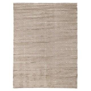 Exquisite Rugs Greek Key Beige New Zealand Wool/Bamboo Silk Rug (8' X 10')