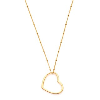 Alchemy Jewelry Handmade Ethical Shiny Gold Open Heart Pendant Necklace with Lobster Clasp