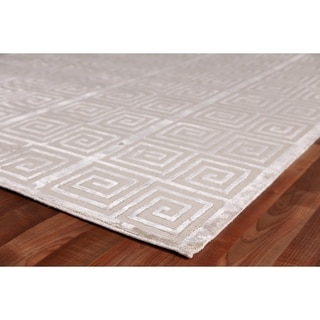 Exquisite Rugs Beige 15-feet Long x 12-feet Wide Greek Key New Zealand Wool and Bamboo Silk Rug