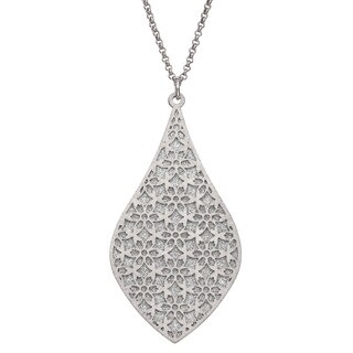 Isla Simone - Silver Tone Crystalized Bi-Lever Flower Necklace