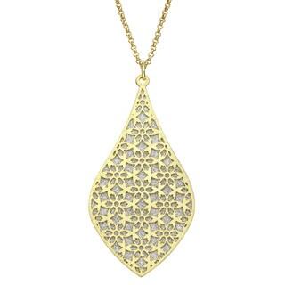 Isla Simone - Gold Tone Crystalized Bi-Lever Flower Necklace