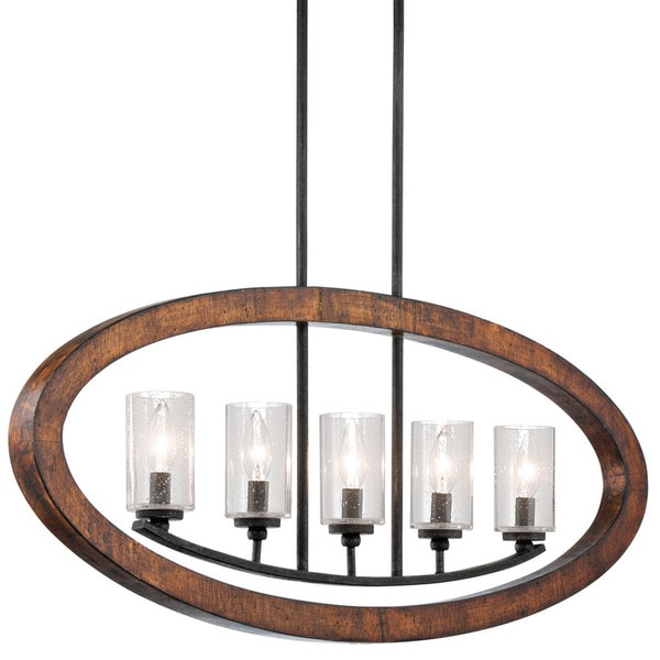 Kichler Lighting Grand Bank Collection 5-light Auburn Stained Linear Chandelier