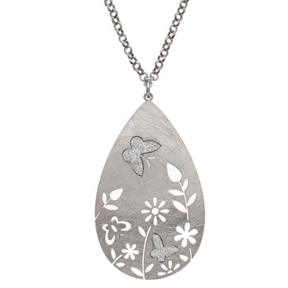 Isla Simone - Silver Tone Flower & Crystalize Butterfly Necklace