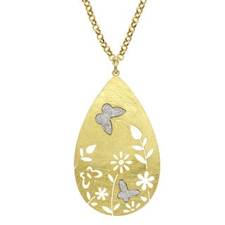 Isla Simone - Gold Tone Flower & Crystalize Butterfly Necklace