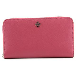 Tory Burch Women's 'Robinson Zip Continental Wallet' Pink Leather Wallet