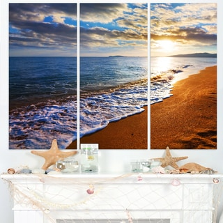 Heavy Clouds Over Morning Beach - Large Seashore Canvas Print